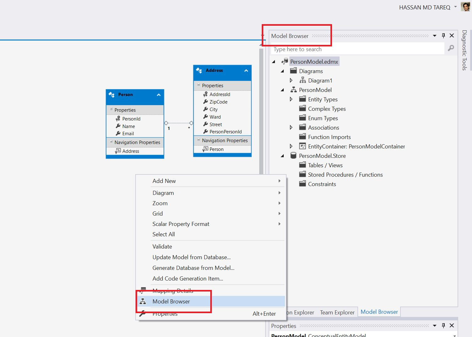 Entity Framework Model Fisrt Approach - Creating edmx Step 18